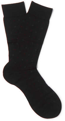 Pantherella Dallington Pin-Dot Merino Wool-Blend Socks - Men - Black