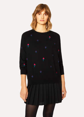 Paul Smith Women's Black Embroidered Floral Merino Wool Sweater