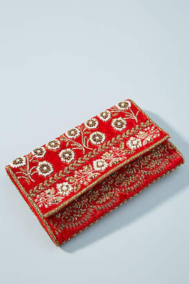 Anthropologie Bella Beaded Velvet Clutch