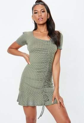 cd2ac16271 Missguided Green Ruffle Side Polka Dot Tea Dress