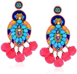 Panacea Multi Bright Pom Statement Drop Earrings