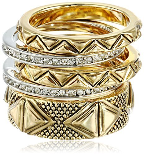 House of Harlow 1960 Gold Tone Mesa Stackable Ring, Size 8