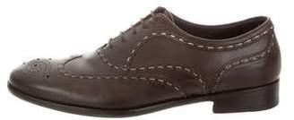 Bottega Veneta Leather Contrast Stitch Oxfords