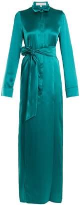 GALVAN Laguna tie-waist silk-satin dress