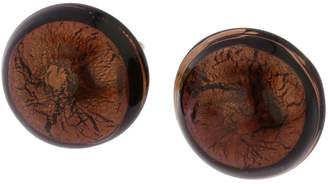 Murano GlassOfVenice Glass Button Stud Earrings - Amethyst Gold