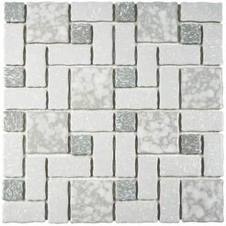 Pallas EliteTile SAMPLE Random Sized Porcelain Mosaic Tile in Gray and White