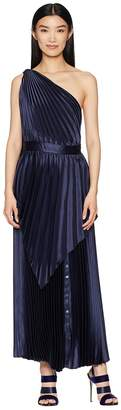 Yigal Azrouel Pleated Long Dress with Scarf Detail and Snap At Hem Women's Dress