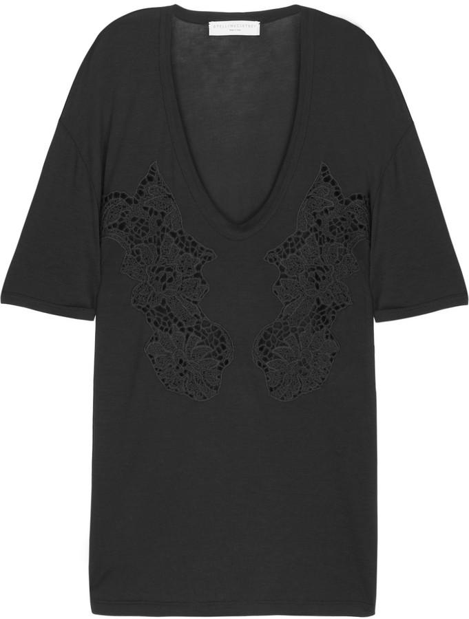 Stella McCartney Lace jersey T-shirt
