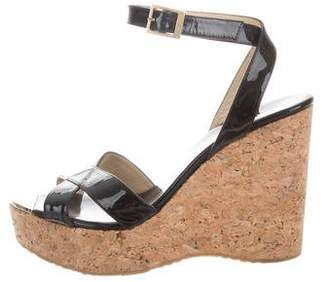Jimmy Choo Patent Leather Ankle Strap Wedges