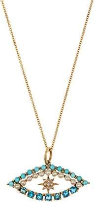 Ileana Makri Diamond, Apatite, Turquoise & Pearl Necklace - Womens - Yellow Gold