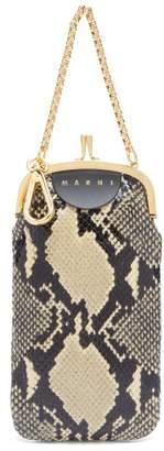 Marni Python Effect Black Leather Clutch Bag - Womens - White