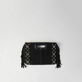 Maje Suede M Duo purse with eyelets