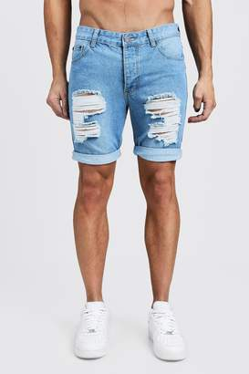 boohoo Skinny Fit Rigid Denim Shorts with Extreme Rips