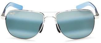 Maui Jim Guardrails Polarized Brow Bar Aviator Sunglasses, 58mm