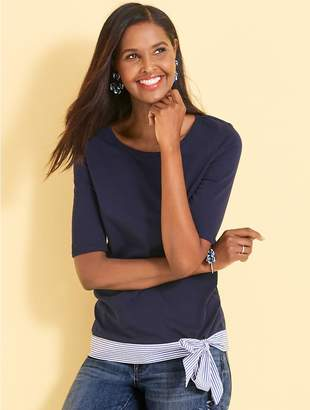 Talbots Elbow-Sleeve Tee With Striped Hem and Bow