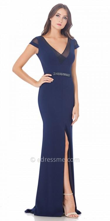 Carmen Marc ValvoCarmen Marc Valvo Infusion Side Slit Illusion Cap Sleeve Prom Dress