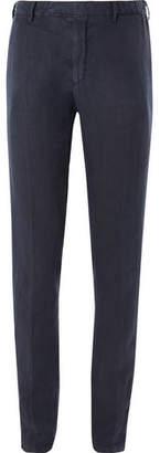 Boglioli Navy Slim-Fit Linen Suit Trousers