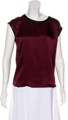 Helmut Lang Leather-Trimmed Sleeveless Top