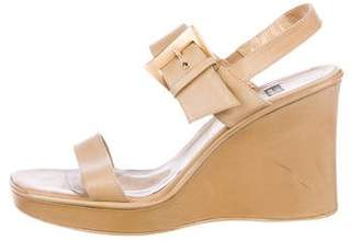Stuart Weitzman Leather Ankle Strap Wedges