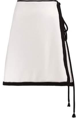 Lanvin Rope-Trimmed Wool Mini Wrap Skirt