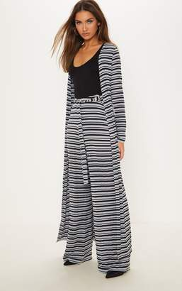 PrettyLittleThing Navy Ribbed Knitted Wide Leg Trouser