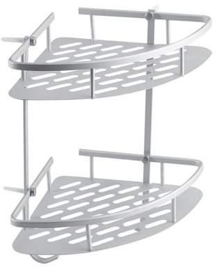 HURRISE 2 Tiers Shower Caddy Shelf Corner Storage Basket,Corner Rack Storage Bath Organizer for Shampoo, Conditioner