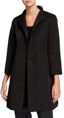Eileen Fisher High-Collar Bracelet-Sleeve Dressy Jacket