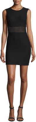 Elizabeth and James Jackie Sleeveless Ponte Mesh-Trim Mini Dress, Black