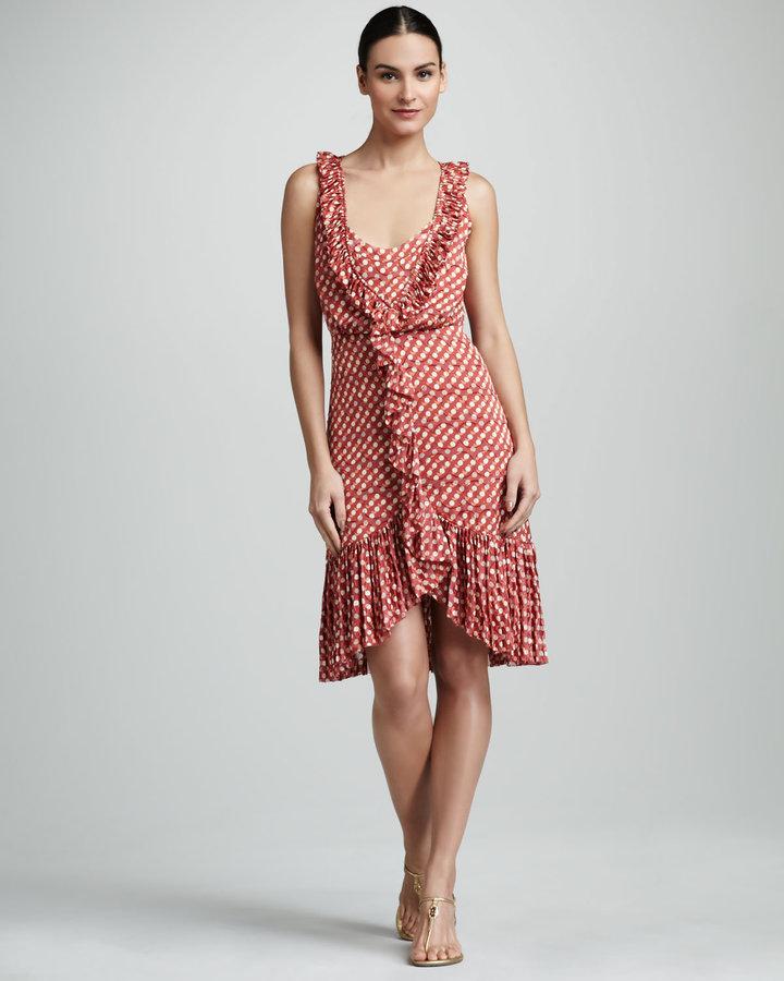 Tory Burch Janetta Polka-Dot Salsa Dress