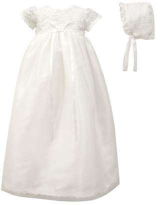 C.I. Castro & Co. Scalloped Lace Christening Gown & Bonnet Set