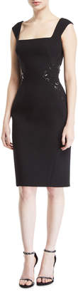 Zac Posen Square-Neck Bonded Crepe Dress