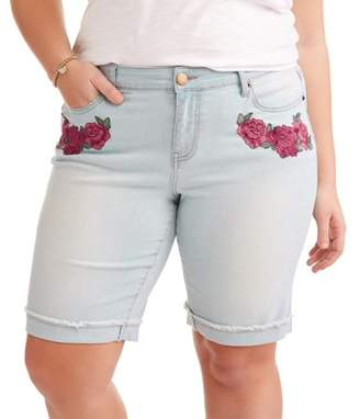 Dh by Dollhouse Juniors' Plus Size Roll Cuff Embroidered Bermuda Shorts