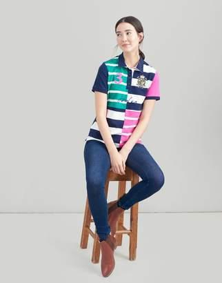 Joules NAVY STRIPE Vittoria Quartered Stripe Polo Shirt Size 10