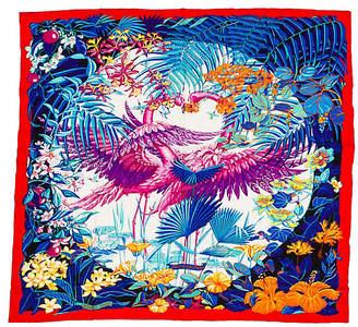 "One Kings Lane Vintage HermAs Cashmere Flamingo 55"" Shawl - Vintage Lux"