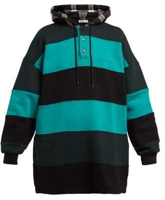 Balenciaga Striped Cotton Sweatshirt - Womens - Black Green