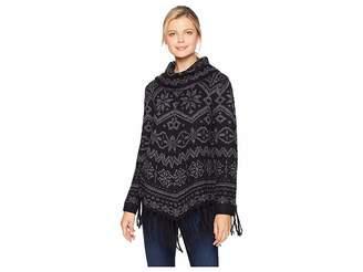 Tribal Long Sleeve Cowl Neck Jacquard Sweater