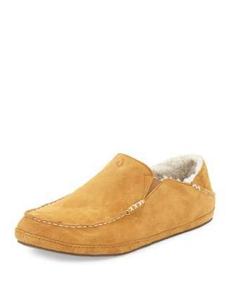 OluKai Moloa Shearling-Lined Slipper, Tan