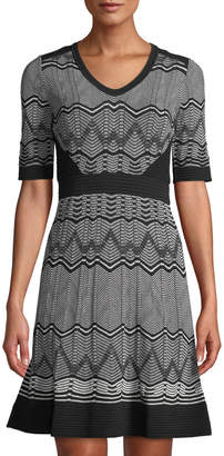 M Missoni Chevron-Striped Short-Sleeve Midi Dress