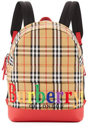 Burberry Kids' Nico Check Backpack w/ Rainbow Logo Embroidery