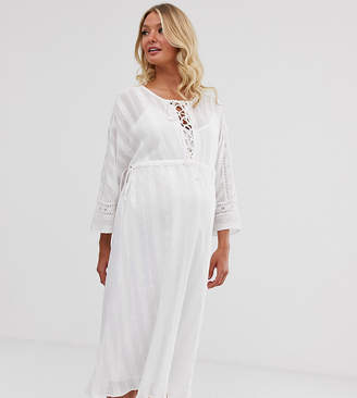 Asos DESIGN Maternity lace insert midi dress with lace up front