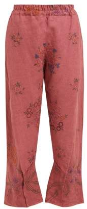 By Walid Reyzi Floral Embroidered Linen Trousers - Womens - Pink