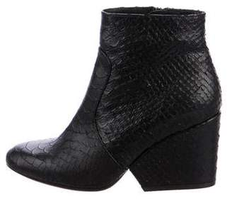 Robert Clergerie Snakeskin Round-Toe Ankle Boots
