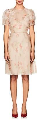 Valentino WOMEN'S LACE-TRIMMED FLORAL STRETCH-SILK ORGANZA DRESS