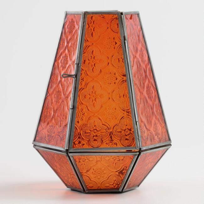 Orange Embossed Glass Hurricane Candleholder