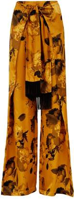 Mother of Pearl Belted Floral Wide-Leg Trousers