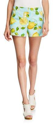 Trina Turk Corbin 2 Lemon-Print Stretch-Cotton Shorts