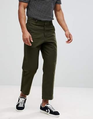 Celio Wide Leg Cropped Pants In Khaki