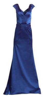 Zac Posen V-Neck Stretch Satin A-Line Gown