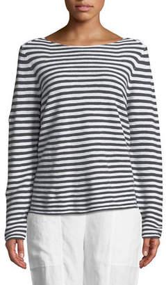 Eileen Fisher Striped Long-Sleeve Organic Linen/Cotton Sweater