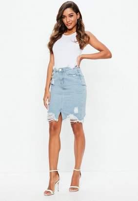 Missguided Tall Blue Busted Hem Denim Midi Skirt